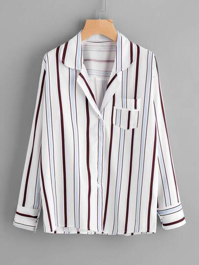 Revere Collar Striped Shirt
