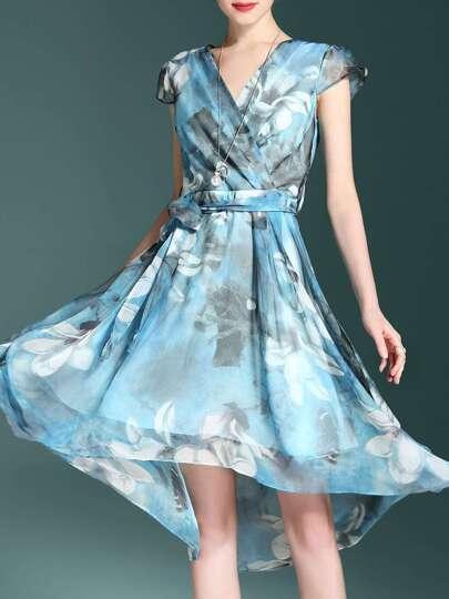 V Neck Flowers Print Dress