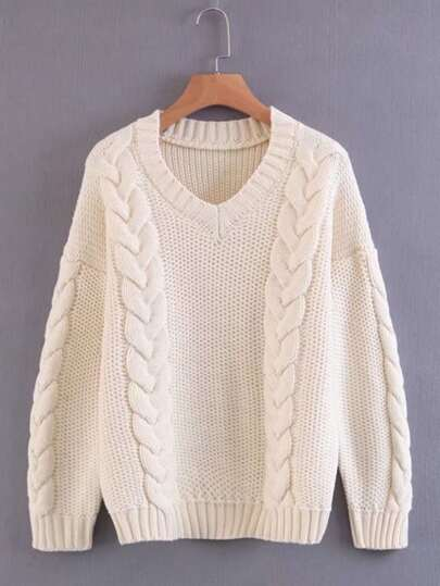 Cable Knit V Neckline Pullover Sweater
