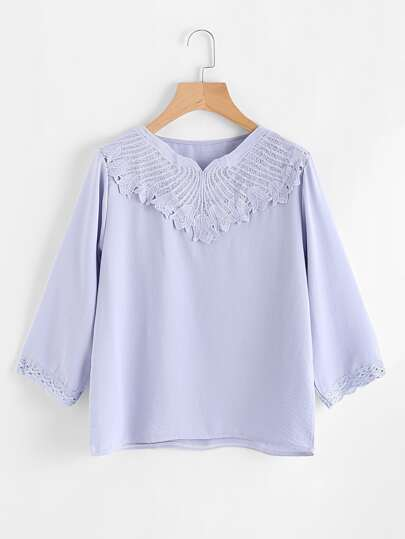 Crochet Lace Paneled Blouse