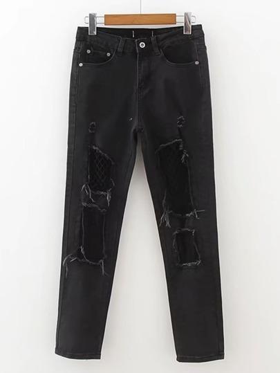 Zerrissene Jeans mit getäfeltem Fischernetz