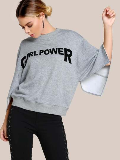 Sudadera con girl power y aberturas