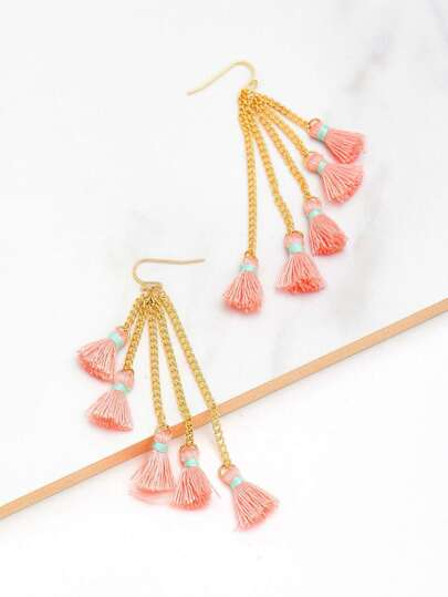 Boucles d\'oreille design de chaîne avec des franges