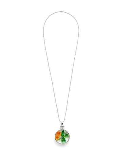 Collier de chaîne avec pendentif rond de fleur en verre