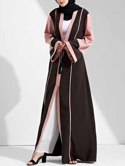 Color Block Cut And Sew Tie Waist Abaya