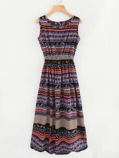 Aztec Print Elastic Waist Dress
