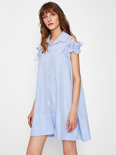 Drawstring Frilled Cold Shoulder Swing Shirt Dress