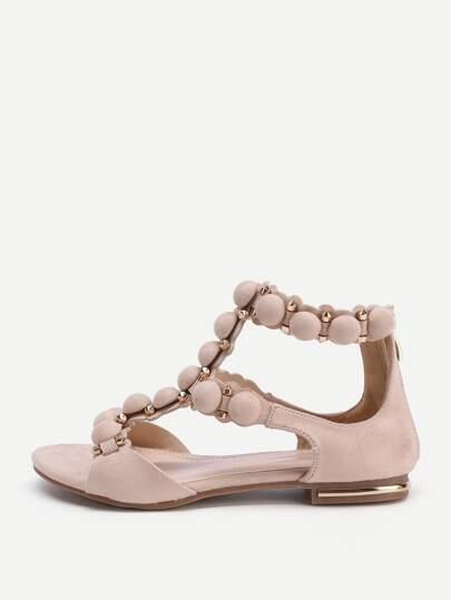Sandales à fond plat avec le zip détail de la forme de cage