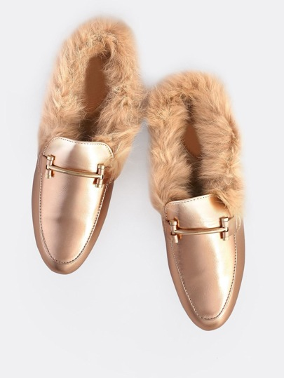 Point Toe Fur Lined Loafers ROSE GOLD