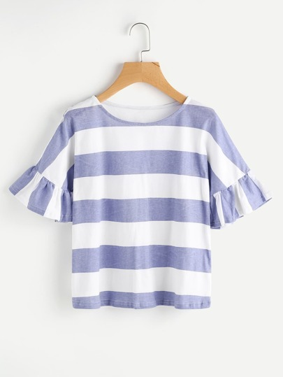 Contrast Wide Striped Frill Cuff Tee
