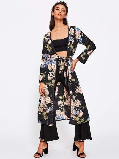 Kimono con stampa botanica