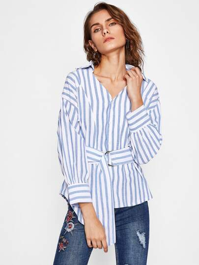 D-Ring Belt Detail Dolphin Hem Striped Blouse