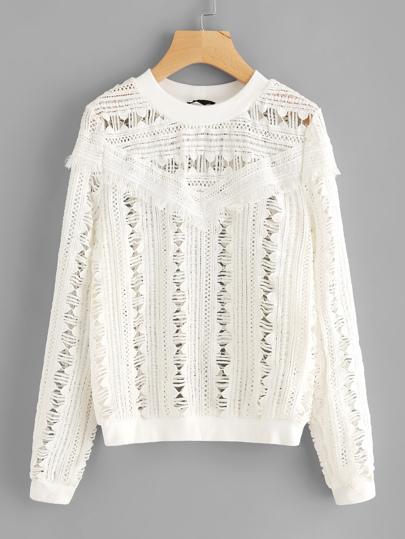 Sweatshirt mit Spitzen und Fransen Detail