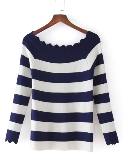 Block Striped Zigzag Cut Knitwear