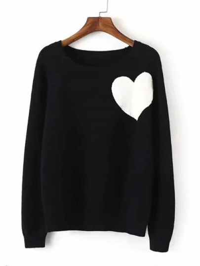 Contrast Heart Jumper Sweater