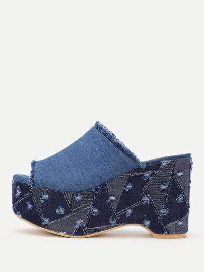 Sandali con zeppa di jeans