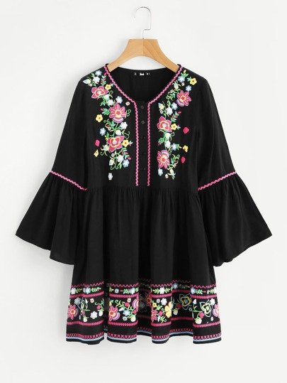 Fluted Sleeve Wave Tape Detail Flower Print Dress