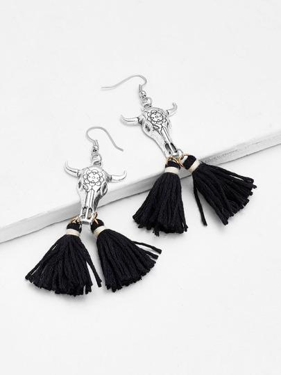 Tassel Drop Earrings With Metal Bull