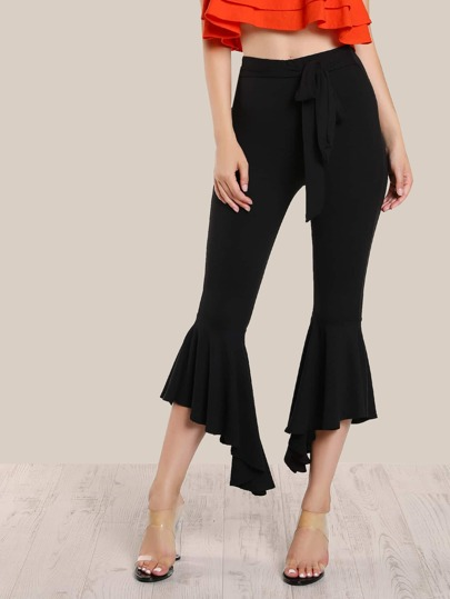 Peplum Bell Bottom Pants BLACK