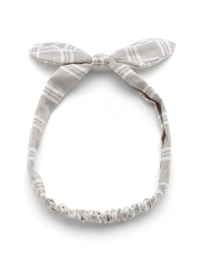 Модная клетчатая повязка для волос с бантом