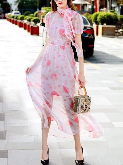 Rouge Baiser Print Elastic-Waist Dress
