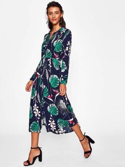 Vestido camisero con estampado tropical