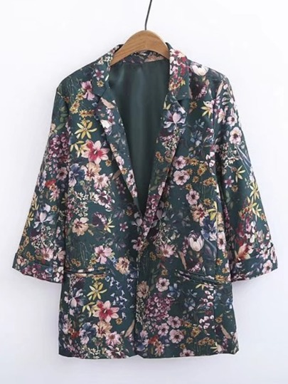 Calico Print Slim Fit Blazer