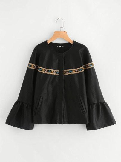 Embroidery Patch And Beading Fringe Detail Jacket