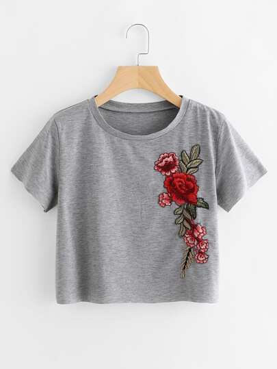 Embroidered Applique Raw Trim Crop Marled T-shirt
