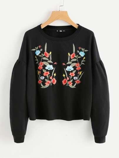 Drop Shoulder Puff Sleeve Botanical Embroidery Sweatshirt