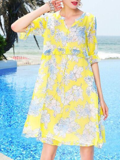 V Neck Floral Flounce Dress
