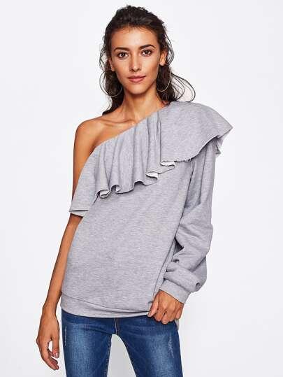 Модный вязаный свитшот на одно плечо с оборкой