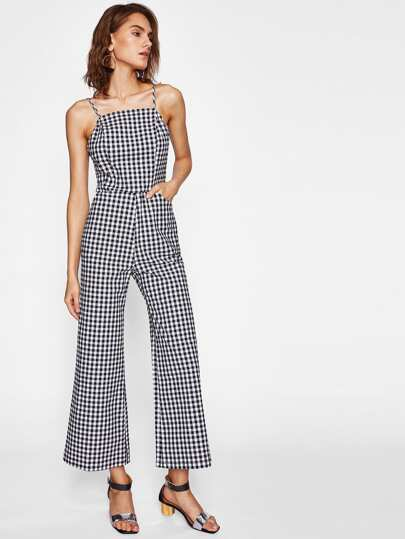 Shirred Back Gingham Cami Jumpsuit