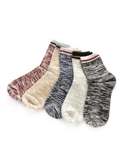 Socquettes découpées contrastées en espace teint 5 paires