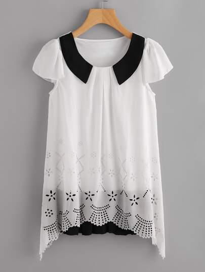 Contrast Panel Puff Sleeve Laser Cut Layered Blouse