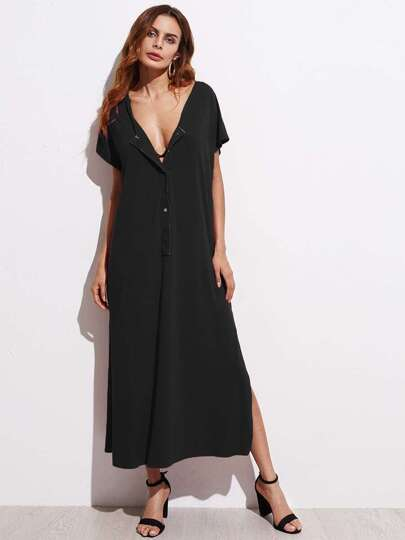 Dolman Sleeve Button Front Slit Side Dress