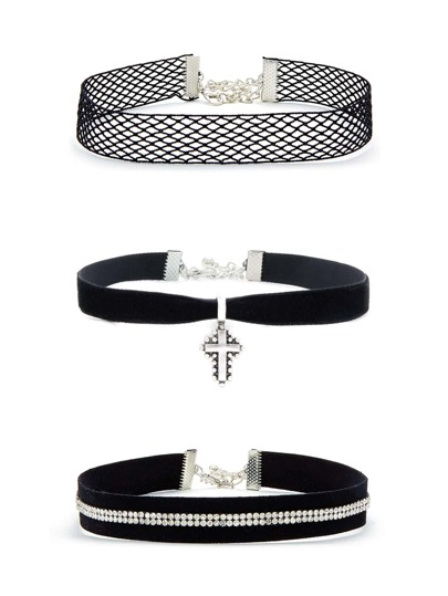 Rhinestone & Cross Detail Choker Set 3pcs