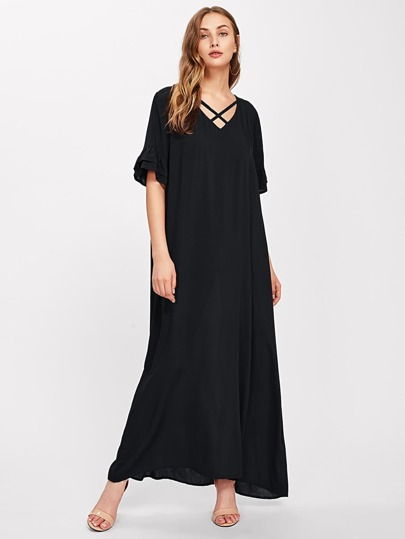 Tiered Frill Sleeve Crisscross V-neckline Dress