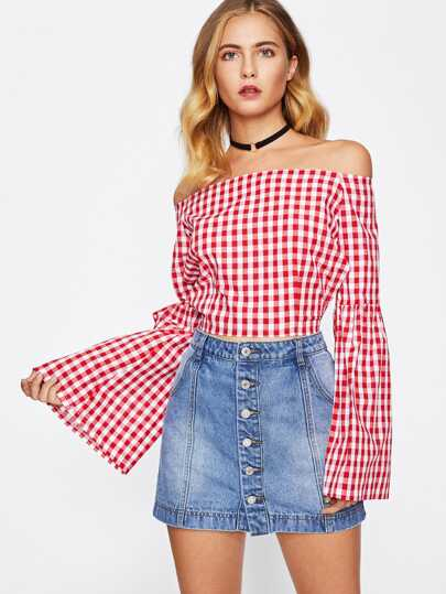 Bardot Backless Tie Detail Flute Sleeve Gingham Top