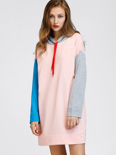 Contrast Sleeve Drop Shoulder Hoody Dress
