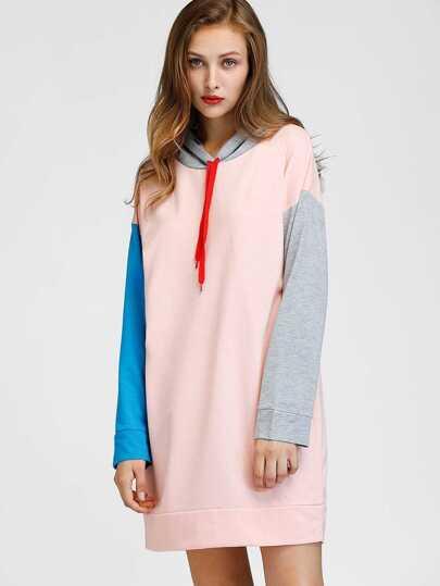 Vestido con manga en contraste de hombro caído con capucha