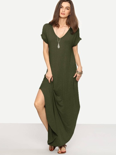 Rolled-cuff Pockets Split Maxi Dress