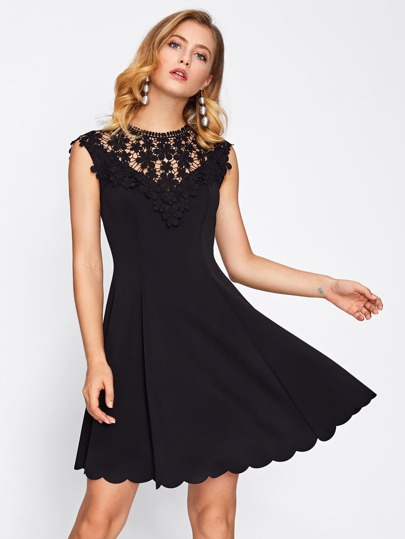 Guipure Lace Yoke Scallop Hem Flare Dress