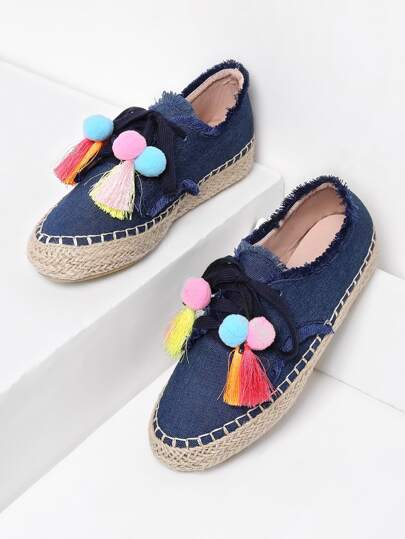 Frayed Edge Pom Pom Detail Denim Espadrilles