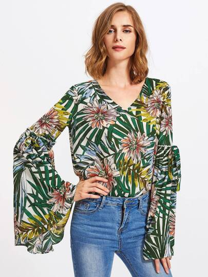 Bow Tie Fluted Sleeve Tropical Top