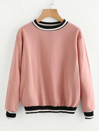 Contrast Striped Trim Sweatshirt