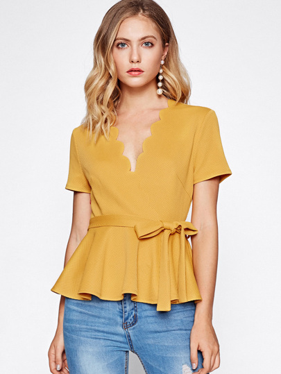 Scallop Neckline Self Tie Textured Peplum Top