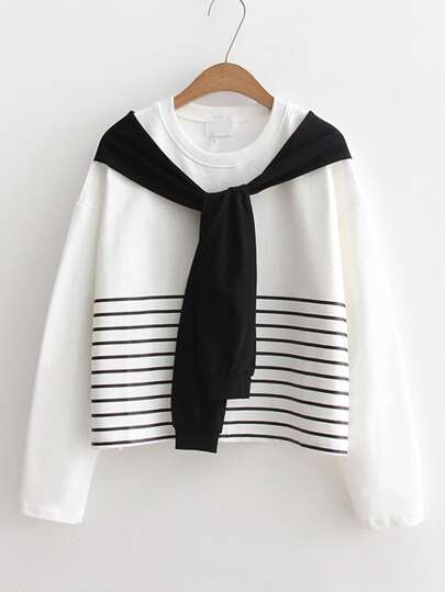 Striped Print Tie Sleeve Sweatshirt