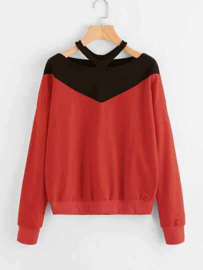 Contrast Panel Ripped Neck Sweatshirt