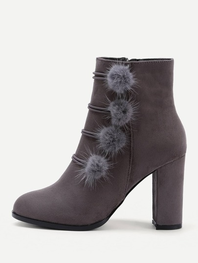Side Pom Pom Heeled Boots